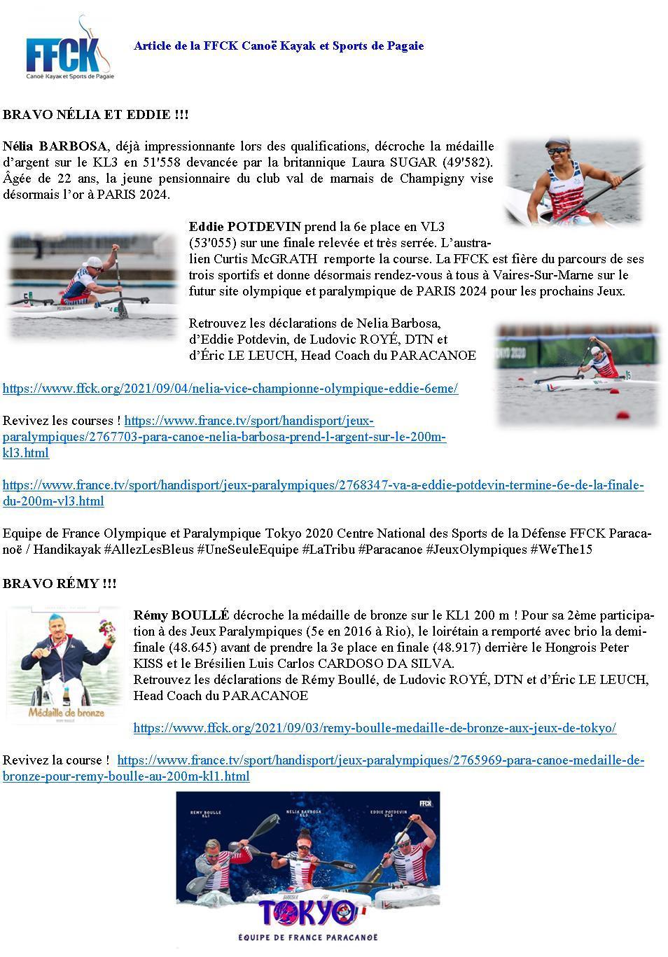 Article de ffck canoe kayak et sport de pagaie