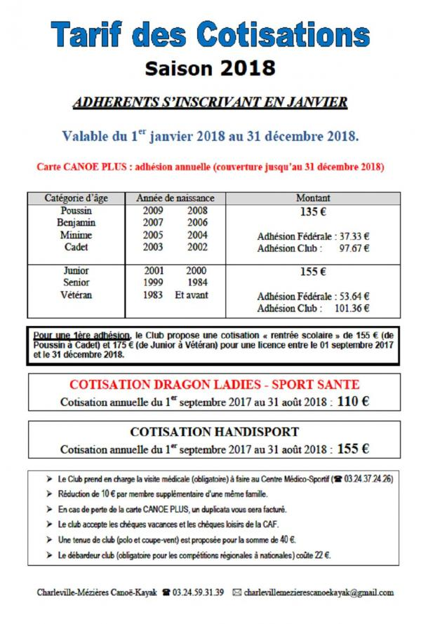 Cotisations 2018